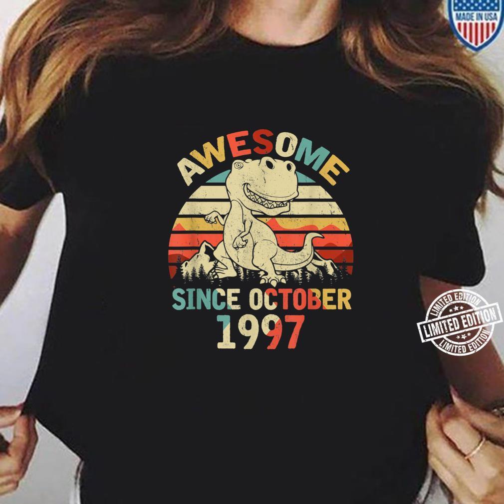 Awesome Since OCTOBER 1997 23rd Dinosaur Birthday Boys Kid Shirt ladies tee