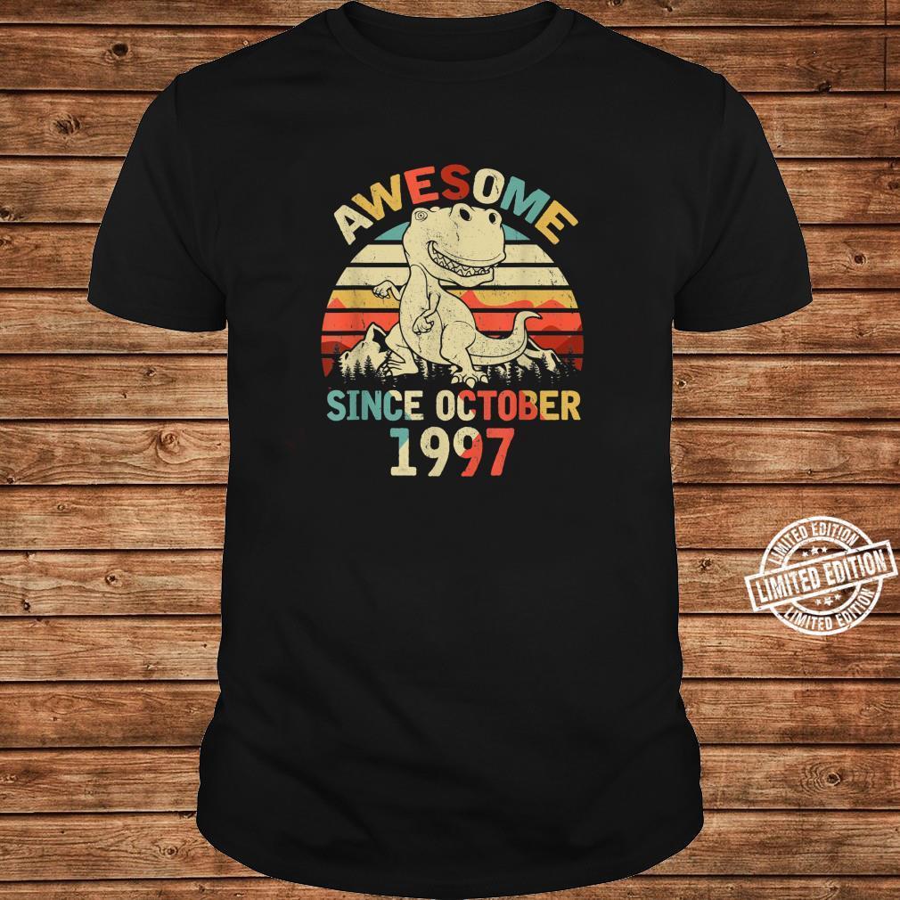 Awesome Since OCTOBER 1997 23rd Dinosaur Birthday Boys Kid Shirt long sleeved