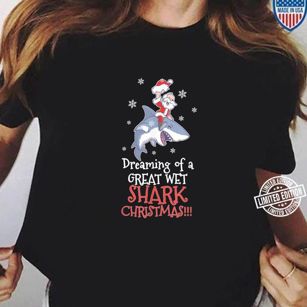Dreaming Shark Christmas Santa Clause Fish Ocean Animal Kid Shirt ladies tee