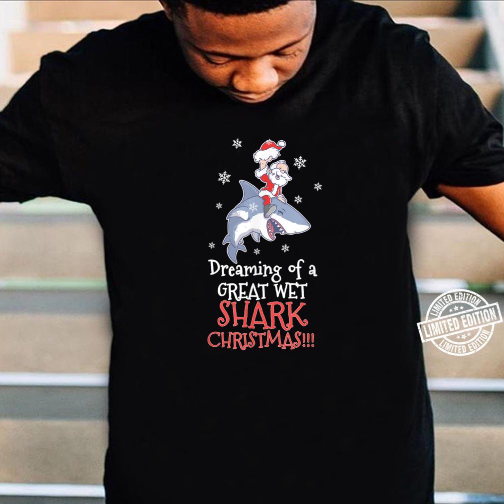 Dreaming Shark Christmas Santa Clause Fish Ocean Animal Kid Shirt