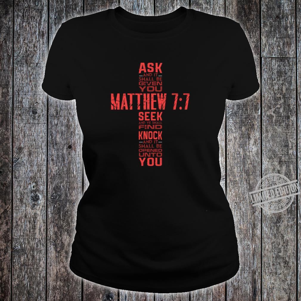 Matthew 77 Bible Verse Biblical And Religious Shirt ladies tee