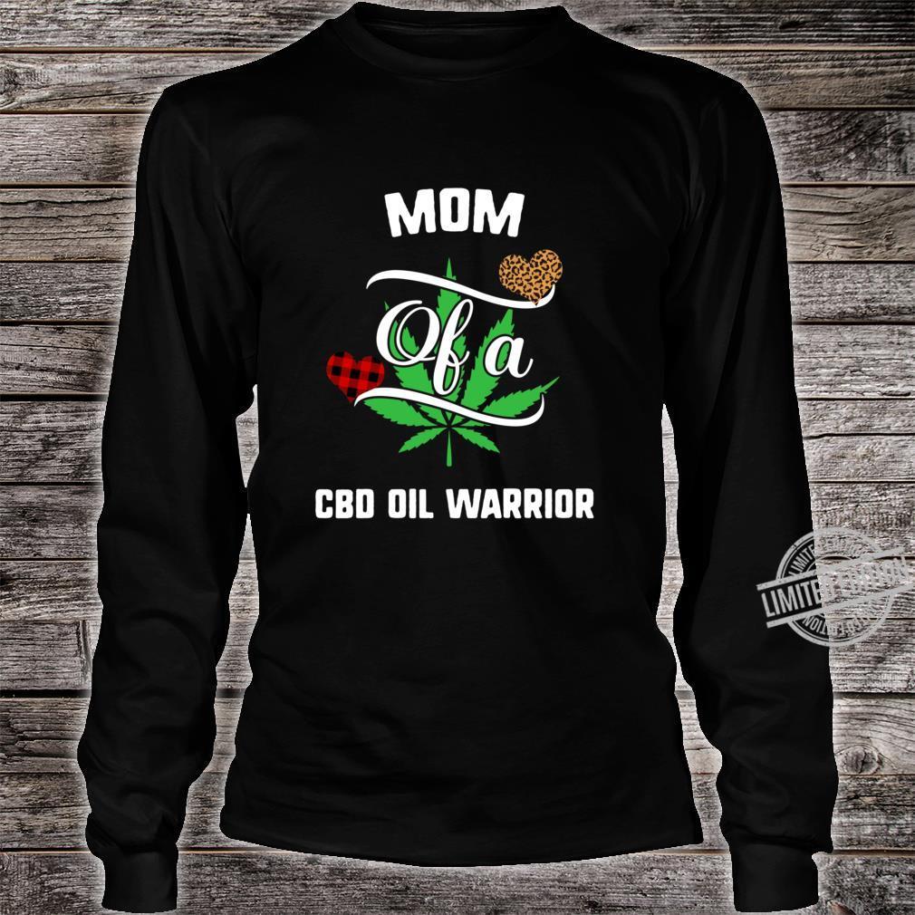 Mom Cbd Oil Warrior Awareness Ribbon Plant Leaf Leopard Buffalo Plaid Family Support Racerback Shirt long sleeved
